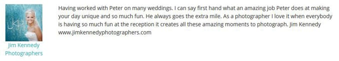 Jim Kennedy Photographers WeddingWire Endorsement-Gleam