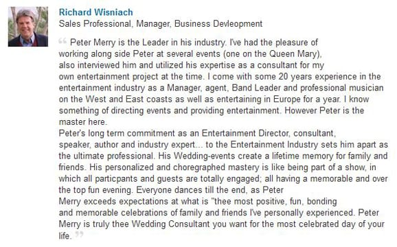 Richard Wisniach LinkedIn Endorsement-Gleam
