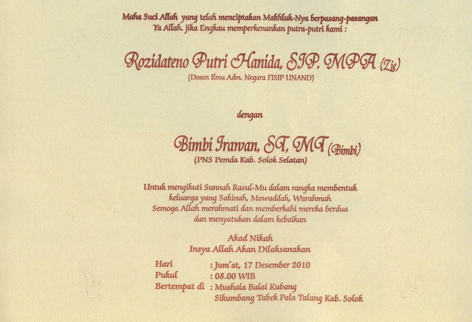 Undangan Nikah Ni Rozi Bk 1999 Asrama Mahasiswa Sumatera Barat