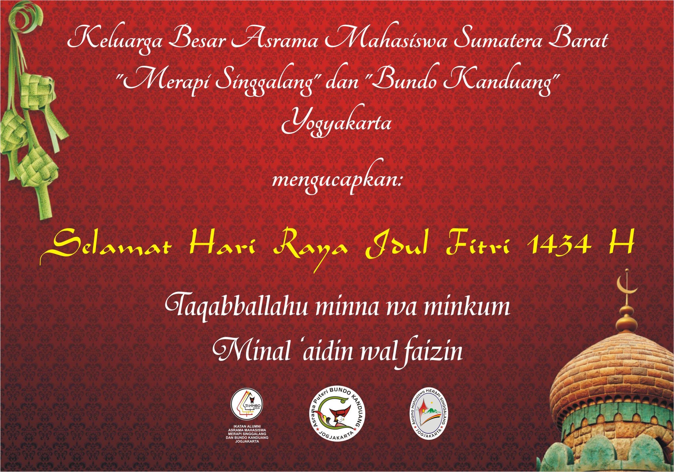 Selamat Idul Fitri 1434 H Asrama Mahasiswa Sumatera Barat