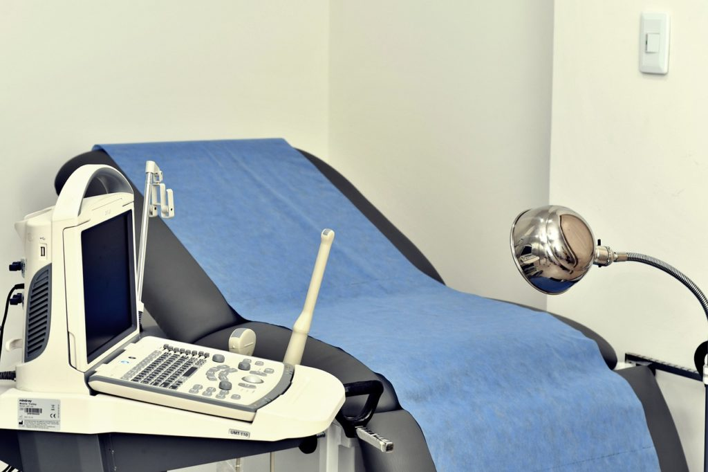 gynecologist's office, with chair and gynecological tools