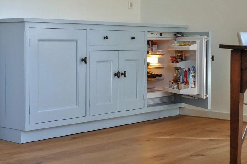 Authentieke keuken Santpoort kast blauw koelkast