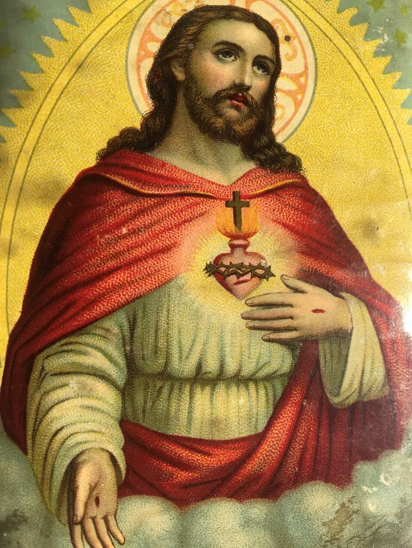 Sacré-coeur-de-jésus-ancien-chromo-objet-religieux