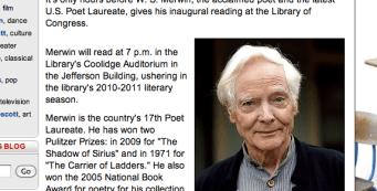 Merwin Gives Inaugural Reading Reports Washington Post
