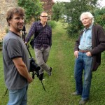 "Stefan Schaefer and film crew in France with W.S. Merwin for documentary ""Even Though the World is Burning"""