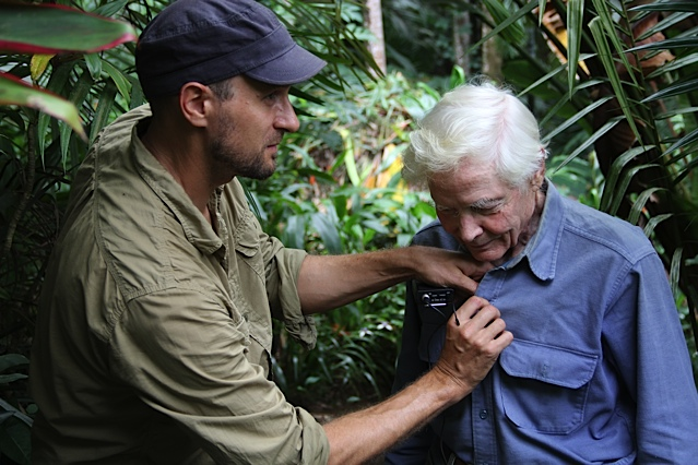 """Stefan Schaefer and William S. Merwin filming for the """"Even Though the Whole World is Burning"""" Documentary"""