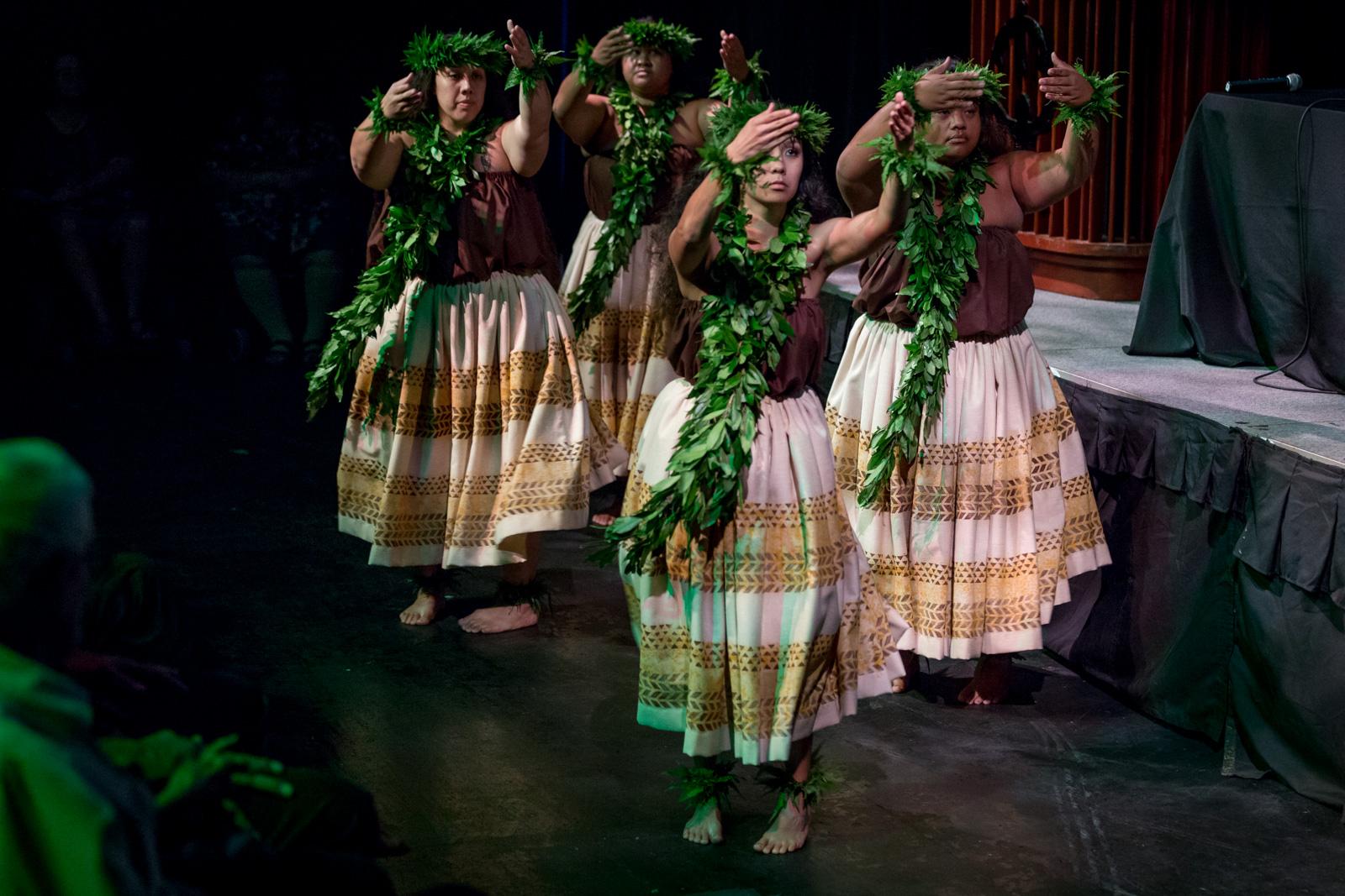 "Keali'i Reichel and members of his halau perform chant and hula at ""Hawai'i: Language Matters"""