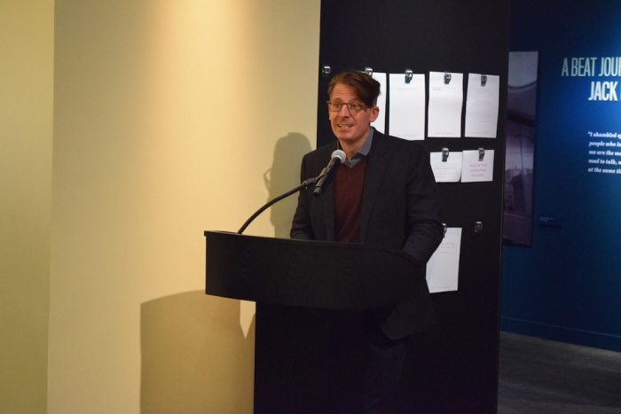 "William and Paula's son, John Burnham Schwartz, reads Merwin's Poem ""Place"" at the American Writers Museum Reception"