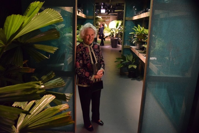 W.S. Merwin's sister Ruth Moser in the Palm exhibit's replica of his shade house