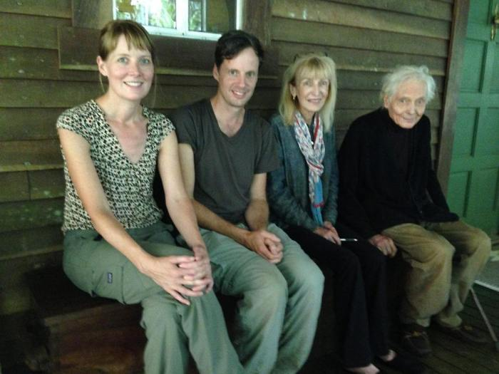 Susannah Sayler and Ed Morris of The Canary Project visiting with Paula Merwin and W.S. Merwin on Maui