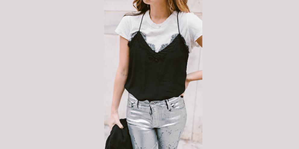 Layering a Cami Slip Dress white t shirt stylish design fashion style