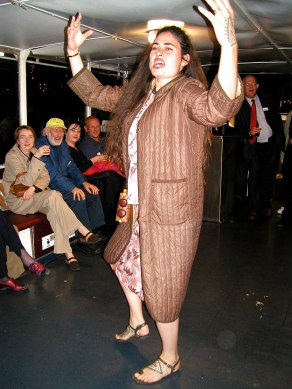Maori perforance artist Rosanna Raymond on the boat, performing in the MerzKabaret.