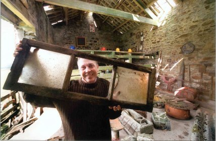 Australian artist Trevor Woodward working in Swallow Scar barn