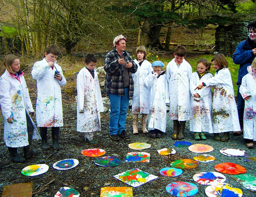 Children from Langdale School with their spin paintings.