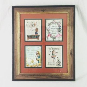 Custom matting and framing for Alice and Wonderland prints.