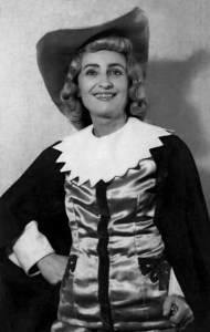 "Elena Botez, în 1957, în rolul Oskar din ""Bal mascat"", de Giuseppe Verdi"