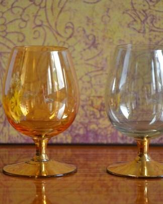 verre à porto en cristal vintage fumé