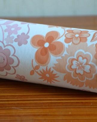 Papier peint vintage à fleurs orange et rose