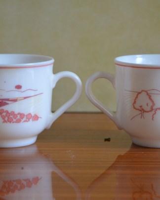 Lot de 2 tasses de la marque arcopal, décor rose champêtre