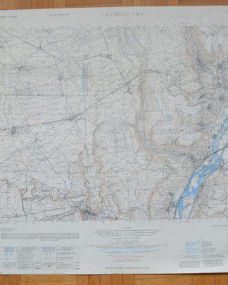 Carte de Chambley 3&4. Dressé par l'Army Map Service (AM), Corps of Engineers, US Army. Carte de France 1:25,000. La carte originale établie d'après les levés sur le terrain de 1907-1908, révisée en 1946. Reproduite en 1951. Carte écrite en français et en anglais.