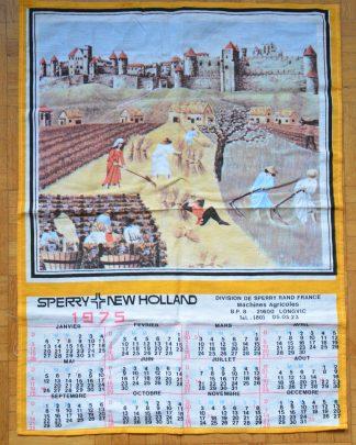 Torchon calendrier en tissu de la marque New Holland, année 1975