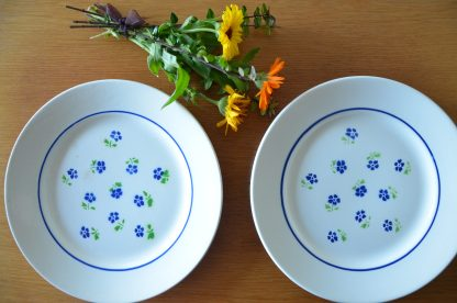 Lot de 2 assiettes de la manufacture Badonviller, collection Claudius, motif petite fleurs bleu et tige verte, liseret bleu.