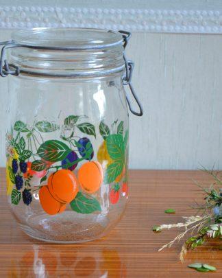 """Pot à conserve """"Le Parfait"""", Lever. Motif de fruits. Bocal à ouverture instantanée."""