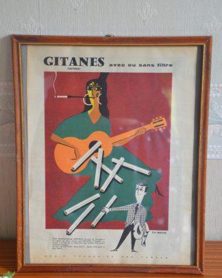 Publicité des cigarettes de la marque Gitane. Publicité de 1957. Mis sous cadre.