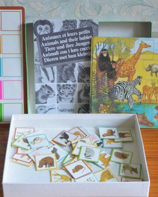 """Animaux et leurs petits, 2 jeux Nathan """"loto des images"""" et """"jeu des silhouettes"""". 4/8 ans, 2 à 4 joueurs et pour jouer seul."""