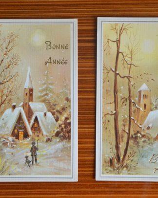 """Lot de 2 cartes postales de """"bonne année"""", carte vintage."""