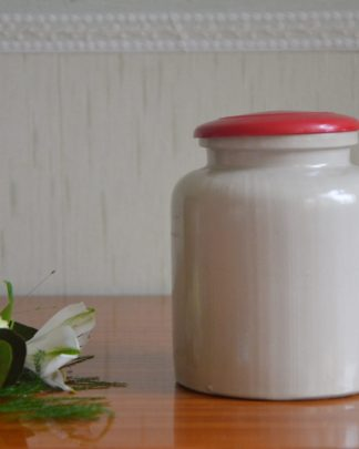 Bocal à moutarde en grès gris brillant avec un couvercle rouge en plastique. Pot de 10.5cm de large et 12cm de haut.