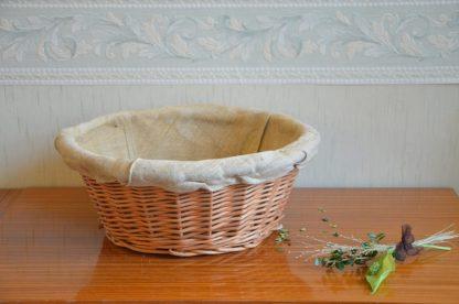 Panier à brioche de cuisson ronde de 33 cm de diamètre et 13 cm de haut. Panier vintage, intérieur lin.