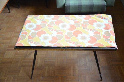 Taie de traversin motif psychédélique et fleurs jaune orange et marron vintage