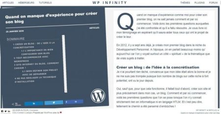 Article sur WP Infinity
