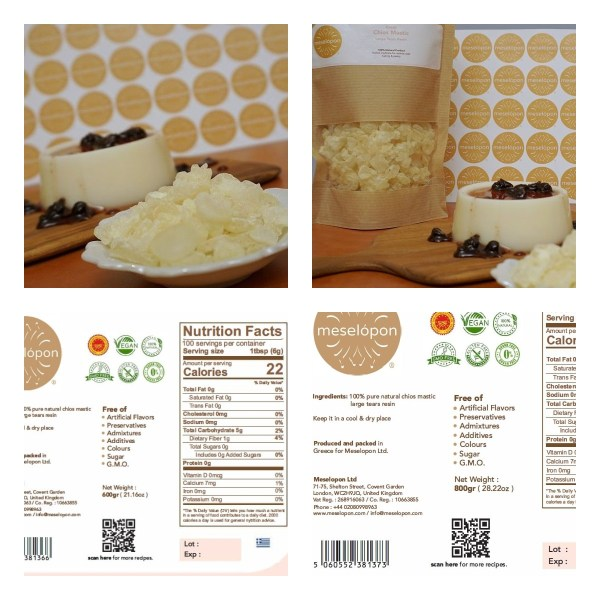 Chios Mastic Gum Mastiha Large Tears Resin Pure Unprocessed Unrefined For Stomach Disorders, Digestive System, Pastry, 600-800gr Nutrition Label