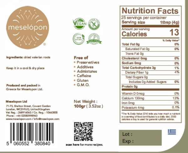 Dried Valerian Herb Roots, 100gr Nutrition Label
