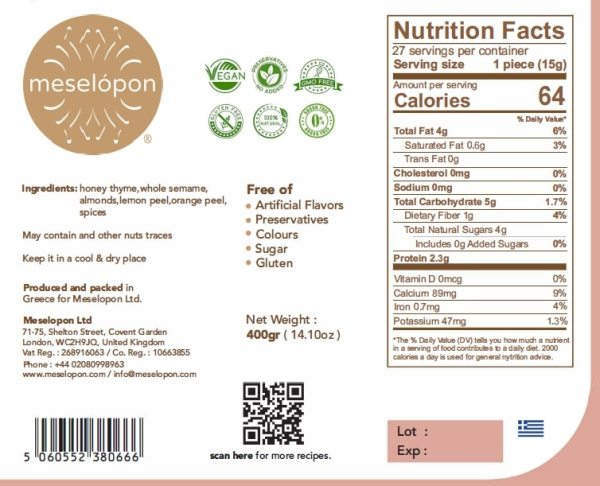 Handmade Nutrition Pasteli, Sesame Seed Candy, Energy Snack Bar Bites With Honey, 400gr Nutrition Label