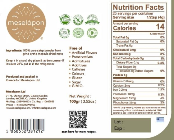 Sahlep, Salep Powder Pure Natural Unprocessed Without Admixtures From Orchis Mascula Roots, 100gr Nutrition Label