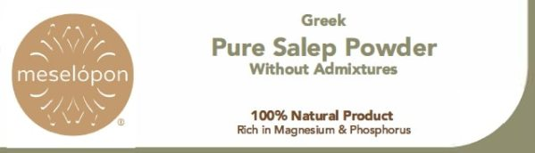 Sahlep, Salep Powder Pure Natural Unprocessed Without Admixtures From Orchis Mascula Roots, Label