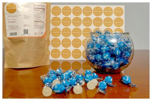 Traditional Hard Round Ouzo Candies Treat, Anise Flavor, Ingredients
