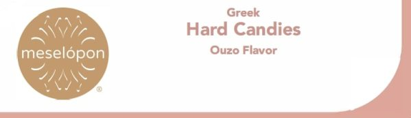 Traditional Hard Round Ouzo Candies Treat, Anise Flavor, Label
