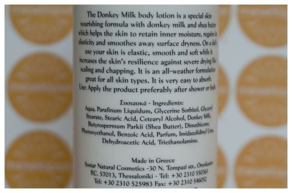 Unisex Moisturizer Body Lotion Enriched With Donkey Milk & Shea Butter 250ml For All Skin Types, Ingredients