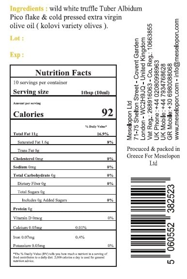 White Truffle Oil, Infused Extra Virgin Olive Oil Cold Pressed 100ml, Nutrition Label