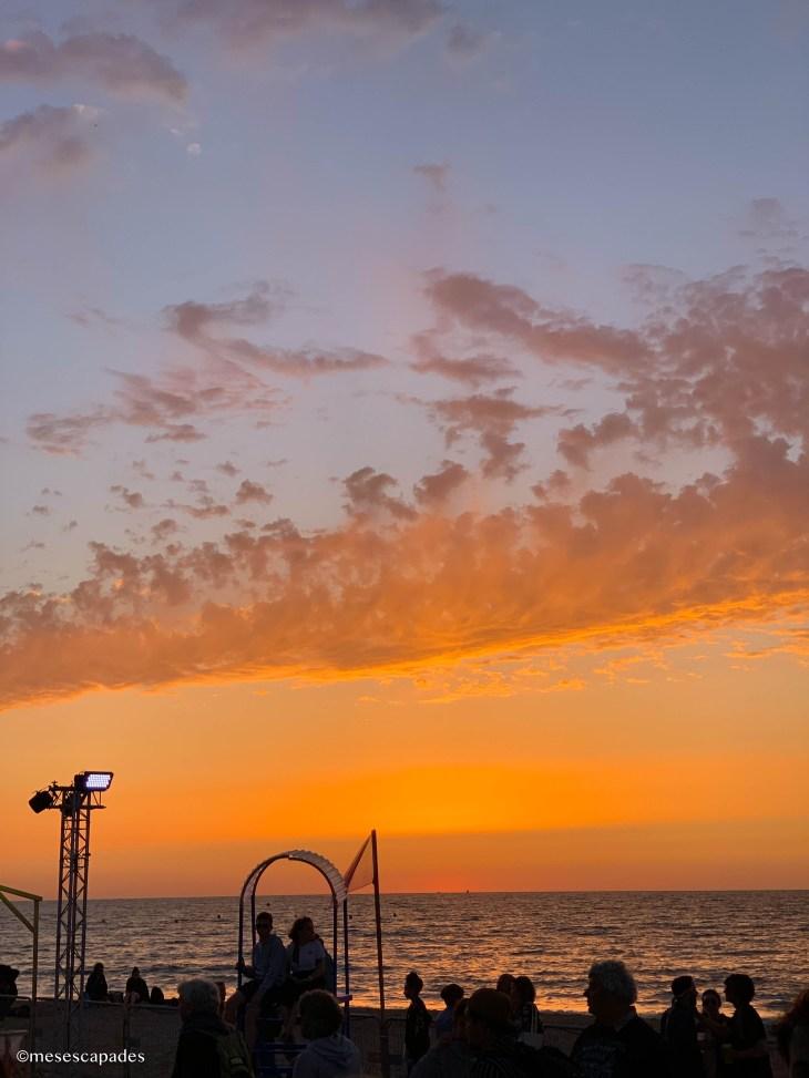 Coucher de soleil sur la plage de Cabourg