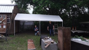 New tent on the South Side of the Sound Shack. With Pepe Lopez and Ricky Sullivan