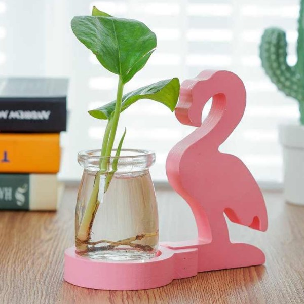 Pink Flamingo Glass Planter