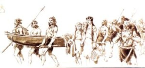 Prehistoric Lakedwellers with a boat