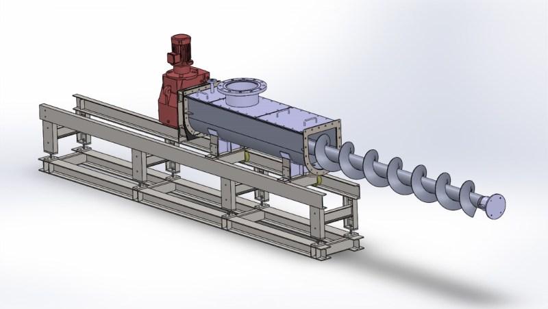 vidalı konveyör solidworks 3d tasarım