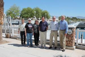 At the lagoon are, left to right, Bob Bilbray, the strategic development advisor to the LEDC; Director Cheryl Crow; Pam Walker, the newest member of the Laughlin Township Advisory Board and a volunteer grant writer for LEDC; Director Terry Yurick; MRB Board Chair George Gault and MRB Director Ken Cook. The Laughlin corporation plans a reciprocal visit as soon as feasible. Contributed by LEDC/Jim Maniaci