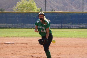 Bulldog ace pitcher Becca Bramlage throws in an earlier game this season. Bramlage is leading the Bulldogs in a late season run during playoff time. Photo by Lou Martin
